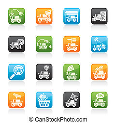 Car and road services icons