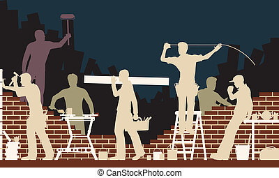 Builders - Editable vector colorful illustration of builders...