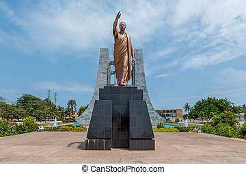Kwame Nkrumah Statue - The statue of the former president...