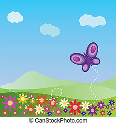 Summer landscape with butterfly