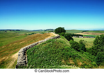 Hadrians Wall, Northumberland - View of Hadrians Wall in...