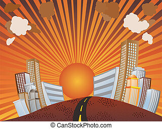 Sunset in the city - Illustration of city skyline during...
