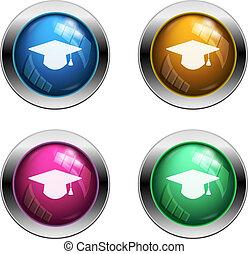 Vector graduation hat buttons