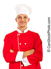 Proud chef man standing with arms folded isolated on white...