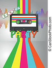 tape cassette party - illustration of vintage retro tape...