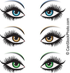Woman eyes in different color - Illustration of woman eyes...
