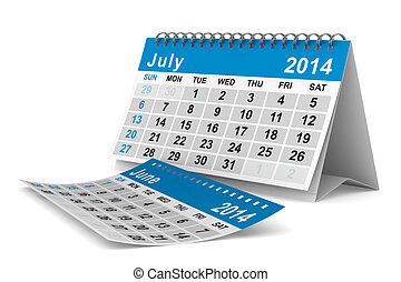 2014 year calendar. July. Isolated 3D image