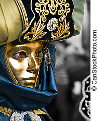 Masked in Gold - VALLETTA, MALTA - Feb 21st 2009 - Woman...