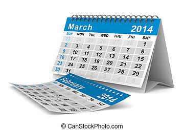 2014, 年, カレンダー, 3月, 隔離された, 3D,...