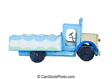 truck vehicle made from old wood  isolated white background