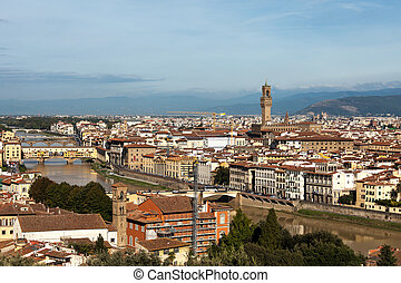 View Above Florence with Arno river, Torre D'Arnolfo And...