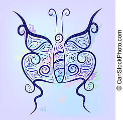 Fantasy background - Fancy contrast butterfly on a bright...