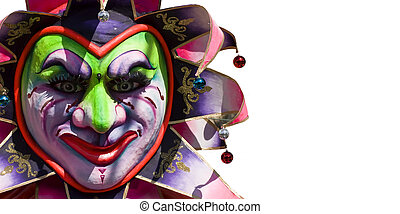 Jester mask isolated on a white backdrop