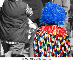 Lonely Clown - A lonely little clown walking unnoticed in...