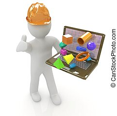 3D small people - an engineer with the laptop presents 3D...