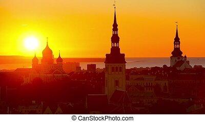 Tallinn, Estonia at sunset.