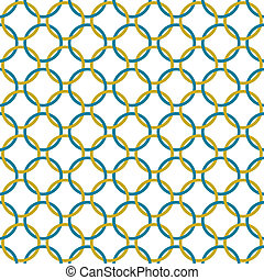 Teal and Gold Interlaced Circles Textured Fabric Background...