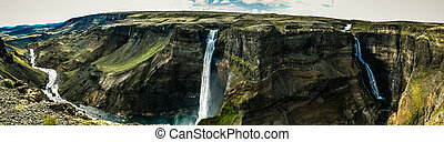 Háifoss og Granni - Panoramic view of the twin waterfall...