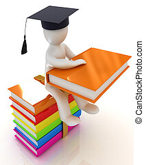 3d man in graduation hat with useful books sits on a...