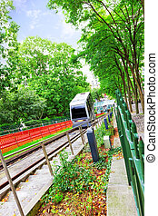 Cable car monorail lift to Montmartre Paris France