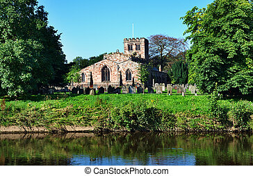 Hadrians Wall, Northumberland - View of St Lawrences Church...