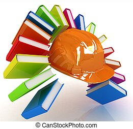 Colorful books like the rainbow and hard hat on a white...