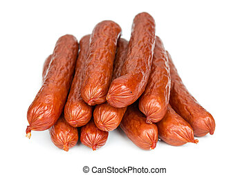 Bavarian sausages isolated on white background, close-up