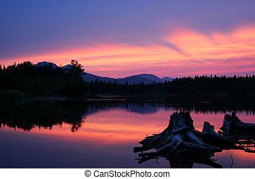 Sherbet sunset - mountain sunset on lake