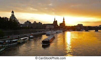 Dresden - Footage of the Elbe River in Dresden, Germany.