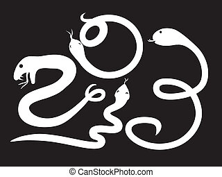 Year of Snake - Free hand line art illustrated 2013 on solid...