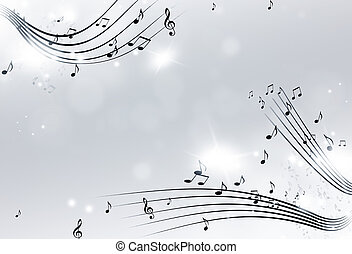 Music Notes Black and White Background - music notes with...