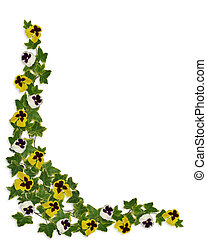 Ivy and Pansies Floral Border - Image and illustration...