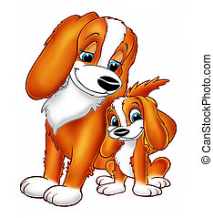 baby dog cavalier - illustration baby dog