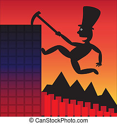 Fiscal Cliff Business - Silhouette vector cartoon...
