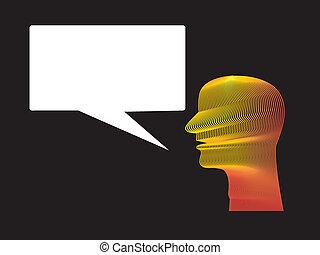 Man Speech Balloon - Man head with speech floating balloon.