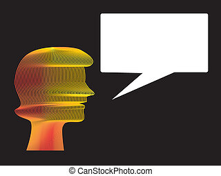 Woman Speech Balloon - Woman head with speech floating...
