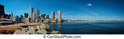 seaside panorama - view of boston harbor and rowes wharf and...