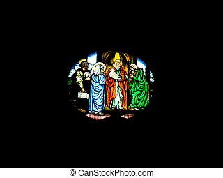 glass painting - Nativity scene glass painting in christ...