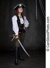 les, girl, -, pirate, sabre, mains
