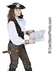 The pirate - young woman with map - The pirate - young woman...