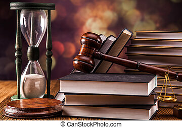 Law concept - Mallet, legal code and scales of justice Law...