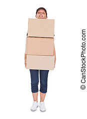 Woman Holding Stack Of Card boxes - Woman Holding Stack Of...