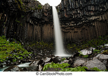 Svartifoss - Basaltic organ and the waterfall Svartifoss in...