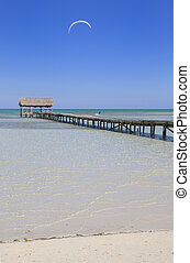 Tropical paradise - View of tropical cuban beach with wooden...