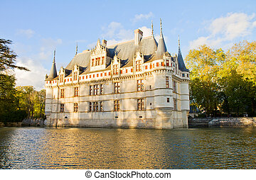 Azay-le-Rideau France - Azay-le-Rideau castle above the...