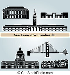 San Francisco landmarks and monuments isolated on blue...