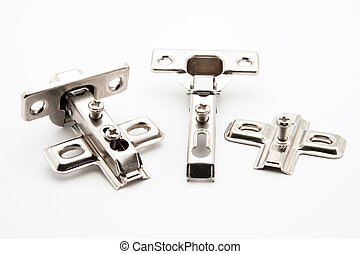 Furniture door hinge connectors on white background