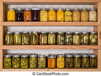 almacenamiento, Estantes, conservado, alimento