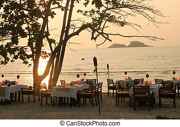 Openair restaurant on the beach of Ko-Chang island