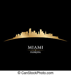 Miami Florida city skyline silhouette black background -...
